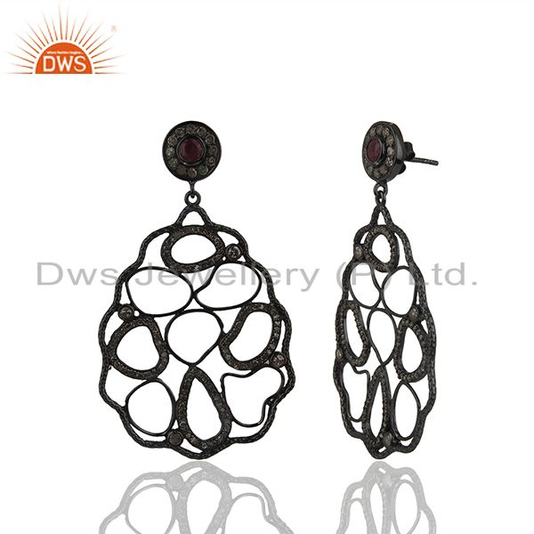 Exporter 92.5 Silver Natural Ruby and Pave Diamond Birthstone Earring Wholesale