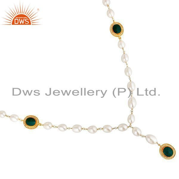 Exporter 14K Yellow Gold Plated Sterling Silver Green Onyx And Pearl Statement Necklace