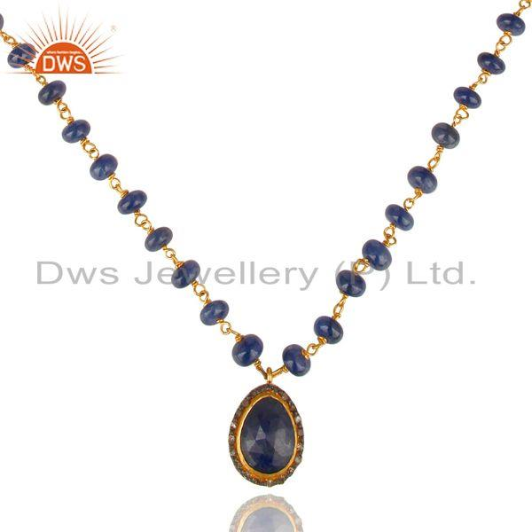 Exporter Sterling Silver Chain Diamond Pave Sapphire Beads Necklace Fashion Designer Jewe