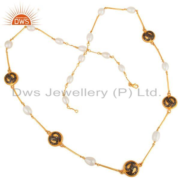 Exporter Gorgeous 925 Sterling SIlver Diamond Pave Natural Pearl Chain Link Necklace