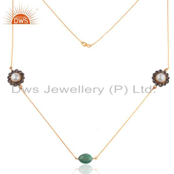 Exporter 18K Gold Plated 925 Sterling Silver Natural Pearl Emerald Chain Necklace