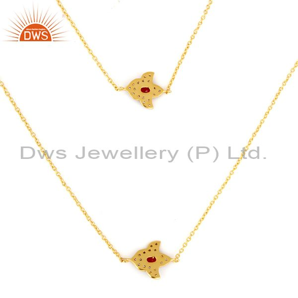 Exporter 14K Yellow Gold Plated Red Aventurine And Cubic Zirconia Necklace