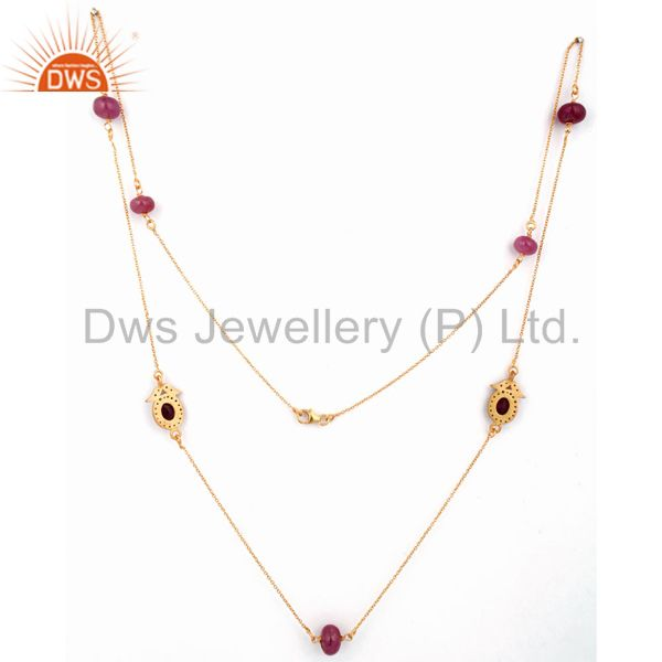 Exporter Natural Ruby Gemstone Beads 22K Gold Over Sterling Silver Chain Necklace Jewelry