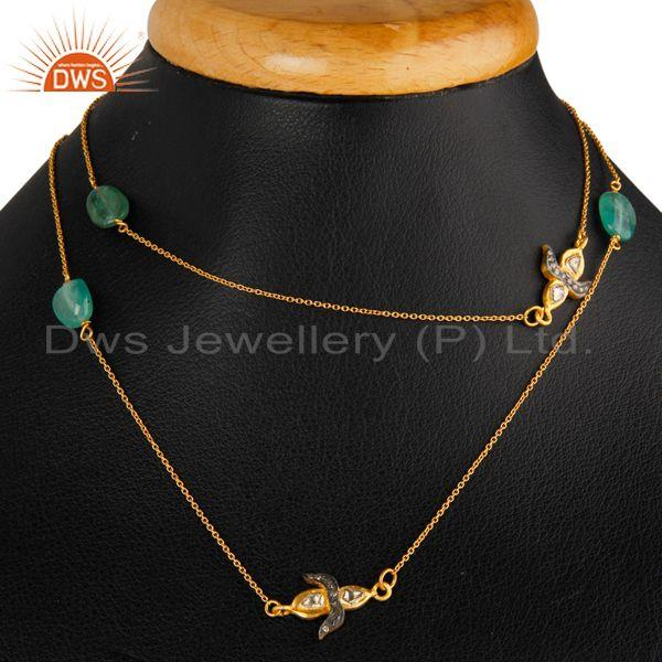 Exporter Natural Emerald Gemstone Necklace Sterling Silver Rose Cut Diamond Pave Jewelry