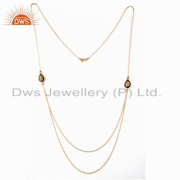 Exporter 18k Yellow Gold Plate Pave Diamond Sterling Silver Emerald Double Chain Necklace