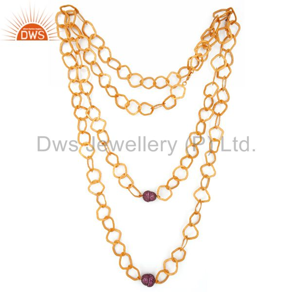 Exporter 24K Gold Plated Sterling Silver Pink Sapphire Hammered Link Chain Necklace