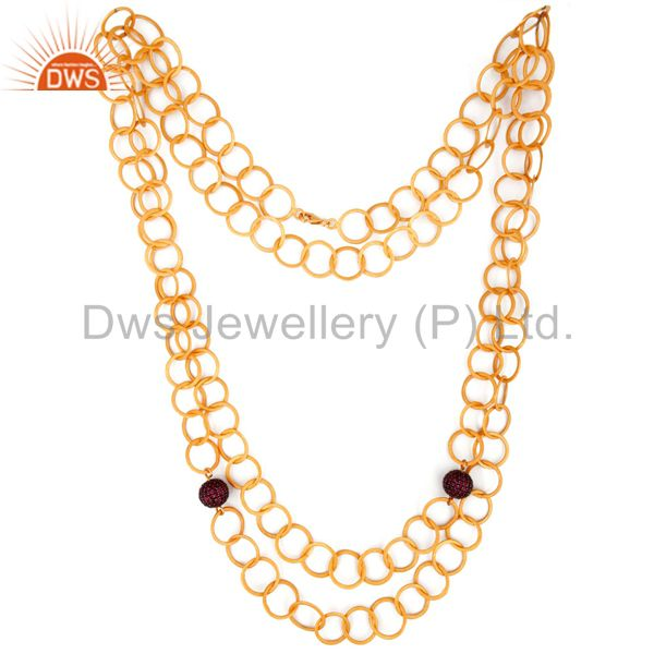 Exporter 22K Yellow Gold Plated Sterling Silver Ruby Hammered Link Chain Necklace