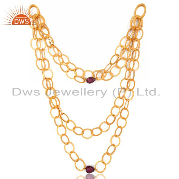 Exporter 24k Gold Over Sterling Silver Double Chain Link Necklace With Pave Ruby Beads