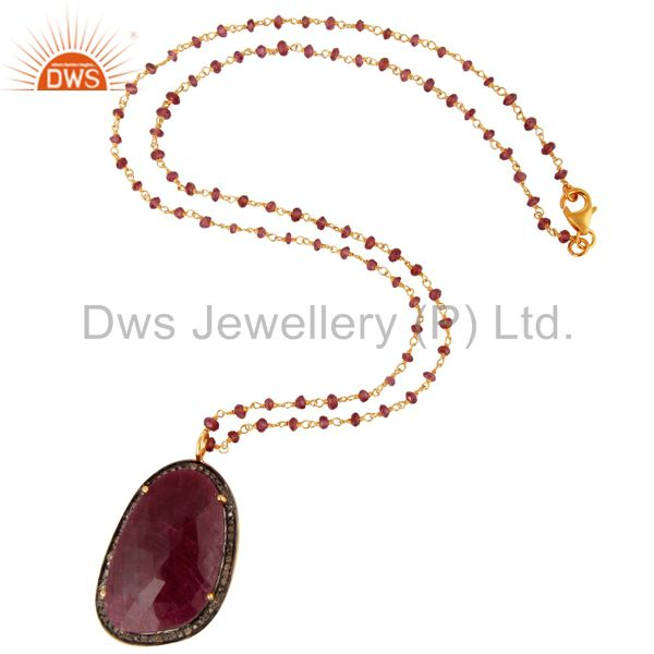 Exporter Natural Ruby Gemstone Sterling Silver Pave Diamond Pendant With Beaded Necklace