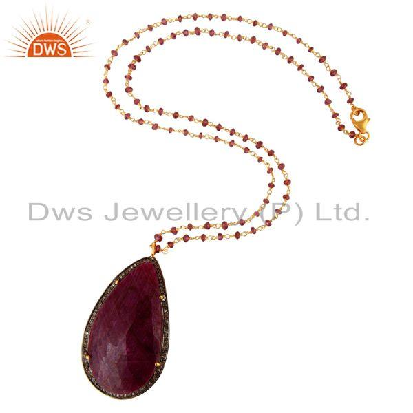 Exporter Natural Ruby Gemstone Slice Pave Diamond Pendant With Beaded Chain Necklace