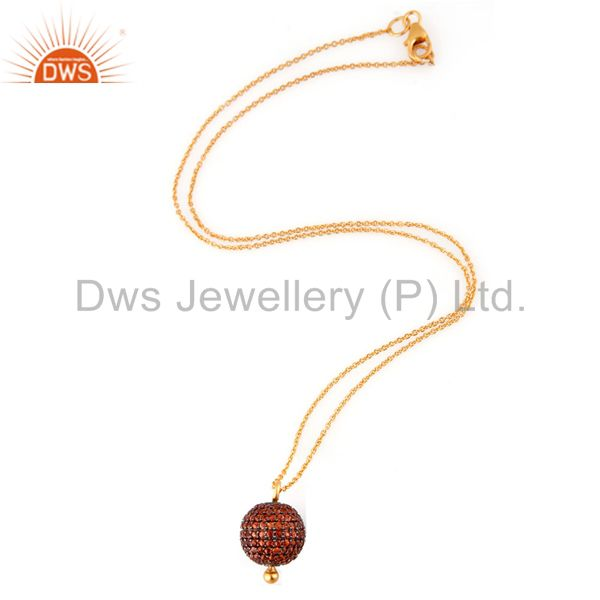 Exporter Amazing Orange Sapphire 18k Yellow Gold On 925 Sterling Silver Pendant Necklace