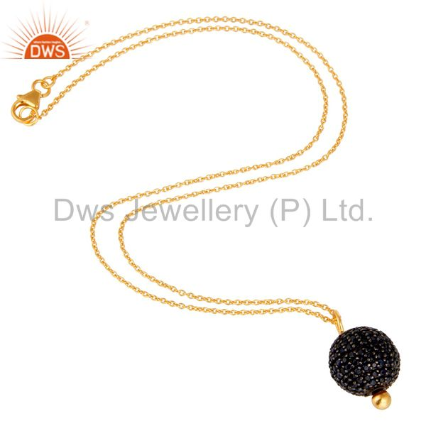 Exporter 18K Yellow Gold Plated Sterling Silver Blue Sapphire Spheres Pendant With Chain