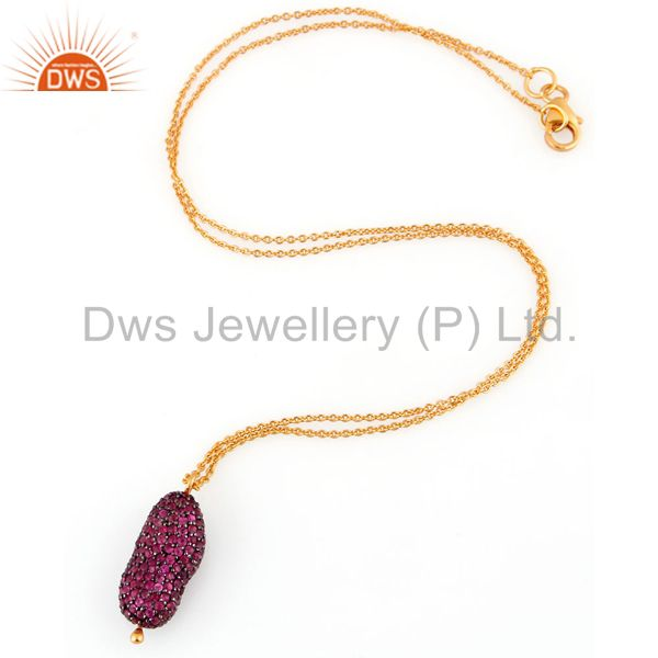 Exporter Natural Ruby Gemstone 925 Sterling Silver Pendant with 18k Gold Plated Chain 16