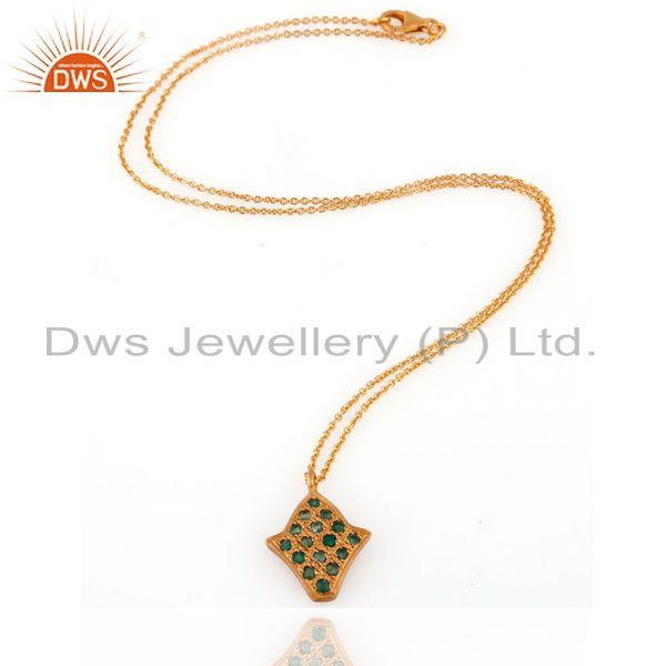 Exporter 22-Karat Yellow Gold Over Sterling Silver Emerald Pendnat With 16