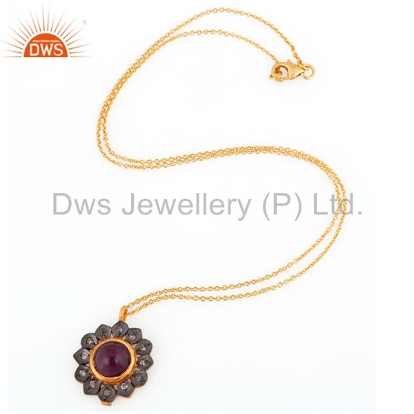Exporter Designer Pave Diamond Handmade Ruby Gemstone Sterling Silver Pendant With Chain