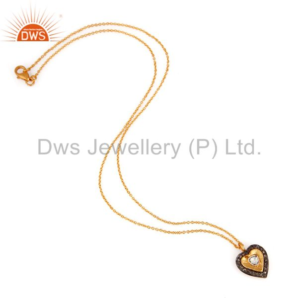 Exporter Real Diamond Accent 18k Gold Over Sterling Silver Heart Shaped Pendant Necklace