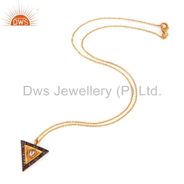 Exporter Rose Cut Diamond 18K Yellow Gold Over Silver Sterling Pendant Necklace Jewelry