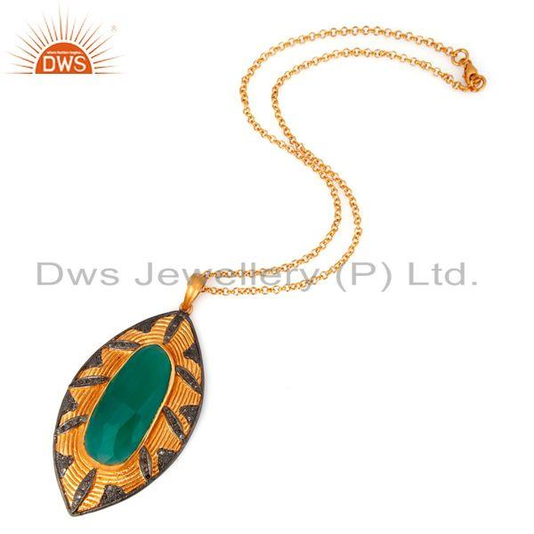 Exporter Handmade Pave Diamond Natural Green Onyx Gemstone Sterling Silver Pendant