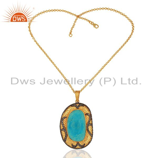 Exporter 925 Sterling Silver Pave Diamond Natural Turquoise Gemstone Pendant Necklace