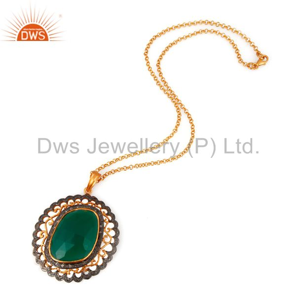Exporter 18k Gold Over 925 Sterling Silver Green Onyx Pave Diamond Pendant Necklace