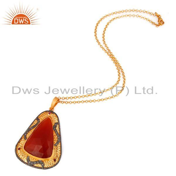 Exporter 18k Gold Over Sterling Silver Pave Diamond Carnelian Gemstone Pendant Necklace