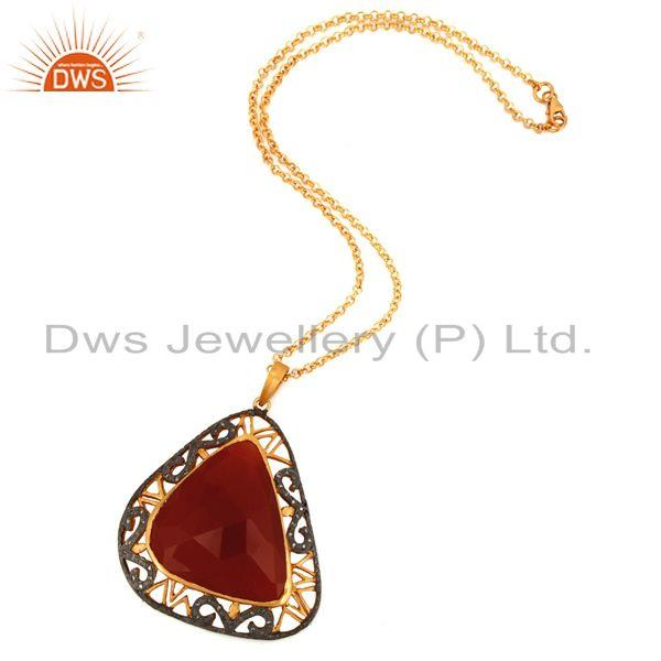 Exporter Designer 925 Sterling Silver Pave Diamond Red Onyx Gemstone Pendant With Chain