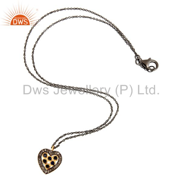 Exporter 925 Sterling Silver Pave Diamond Blue Sapphire Heart Design Pendant Necklace
