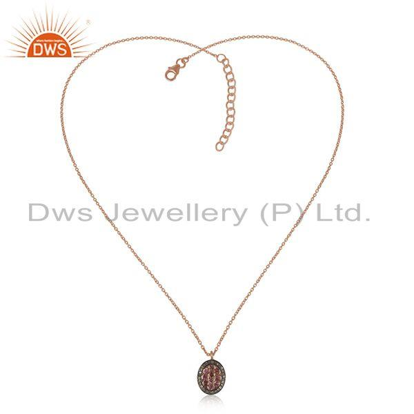 Exporter 925 Silver Pink Tourmaline and Diamond Chain Pendant Manufacturer Jaipur India