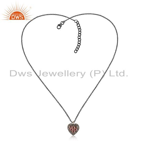 Exporter Rose Gold Plated 925 SIlver Pave Diamond Heart Gift Pendant Jewelry Manufacturer