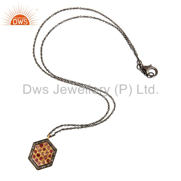 Wholesale Diamond Pave Sterling Silver Pink Tourmaline Gemstone Fashion Pendant Necklace