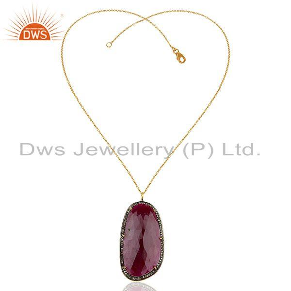 Exporter 18k Yellow Gold Plated Sterling Silver Diamond Cut Ruby Chain Pendant Jewelry