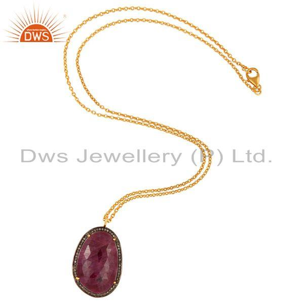 Exporter 18K Gold Plating Sterling Silver Chain Necklace With Pave Diamond & Ruby Pendant