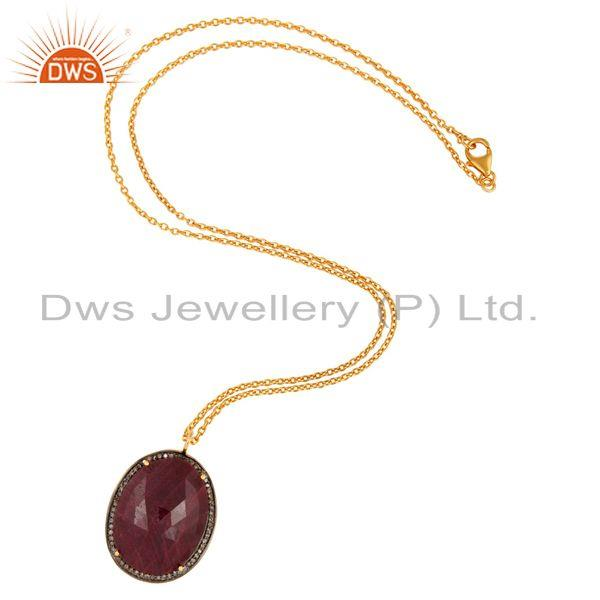 Exporter Gold Plated 925 Sterling Silver Natural Ruby And Diamond Accent Pendant Necklace