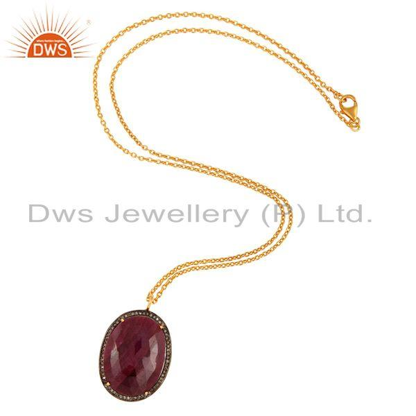 Exporter Natural Ruby Pave Set Diamond Solid Sterling Silver Pendant Necklace For Women