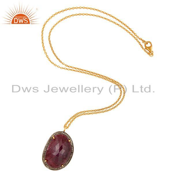 Exporter Handmade Sterling Silver Natural Diamond Pave Ruby Gemstone Pendant Necklace