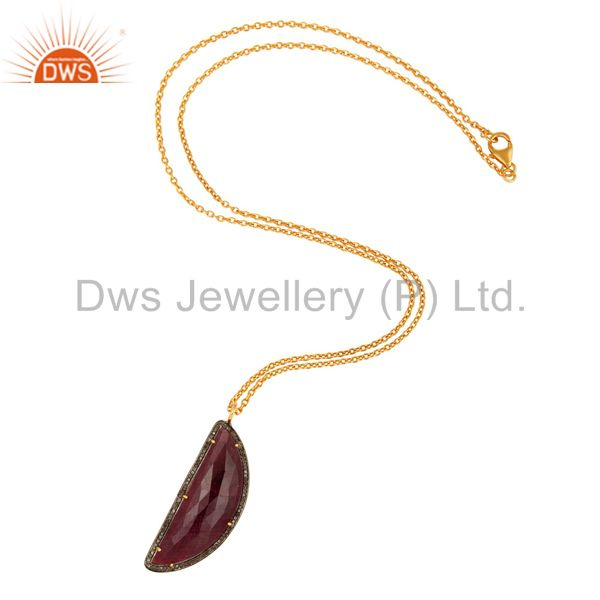 Exporter Pave Diamond And Ruby Gemstone Necklaces & Pendant Sterling Silver Fine Jewelry