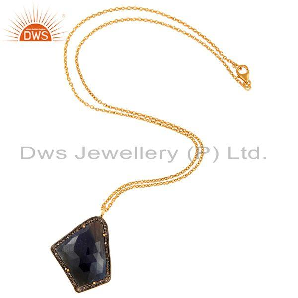 Exporter Natural Blue Sapphire Fancy shape Slice Pave Diamond Silver Pendant With Chain