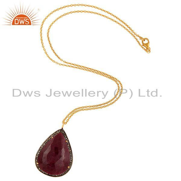 Exporter Pave Diamond Natural Gemstone Pendant In 18K Gold Over Sterling Silver