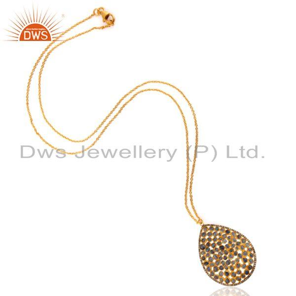 Exporter Pave Diamond Blue Sapphire Handmade Pendant Necklace In 18K Gold Over Silver