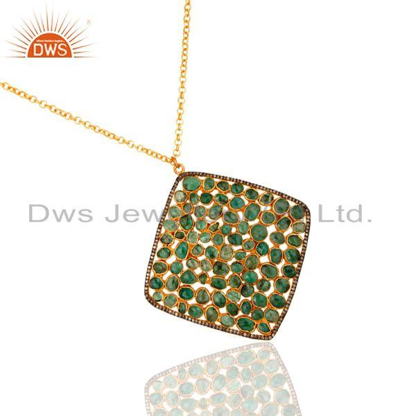 Exporter Handmade 18K Gold On Sterling Silver Emerald Diamond Pave Designer Pendant