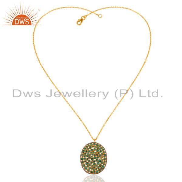 Exporter Natural Emerald Raw Gemstone Pave Diamond Pendant In 18K Gold On Sterling Silver