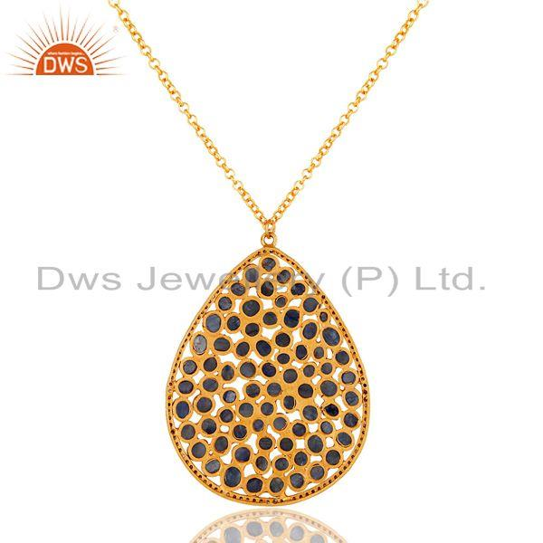 Exporter Diamond and Blue Sapphire 18K Gold Plated Sterling Silver Necklace