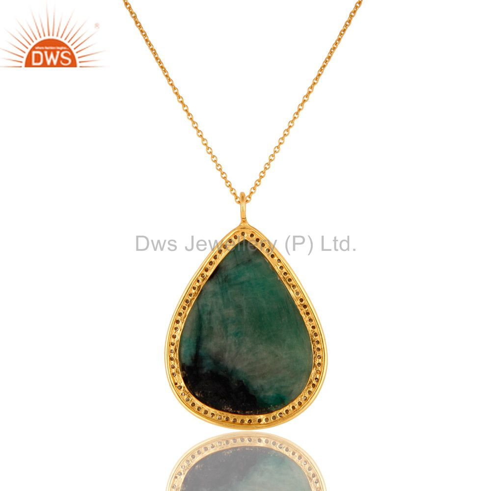 Exporter 18K Yellow Gold Sterling Silver Emerald And Pave Diamond Pendant With Chain