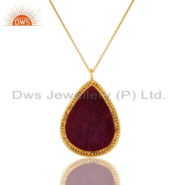 Exporter 18K Yellow Gold Sterling Silver Natural Ruby And Pave Diamond Pendant With Chain