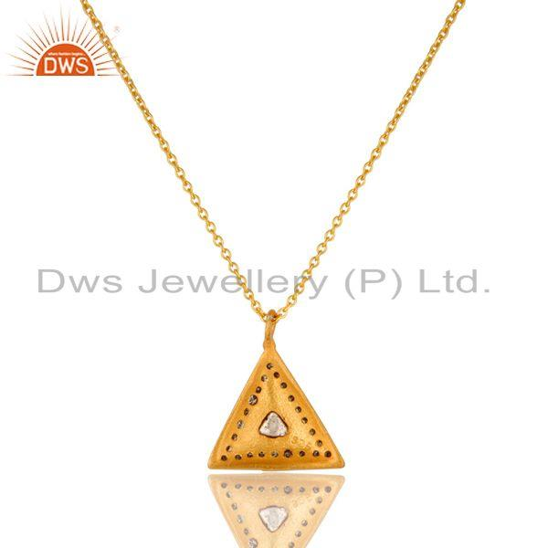 Exporter 18K Yellow Gold Plated Sterling Silver Natural Rose Cut Diamond Pendant Necklace
