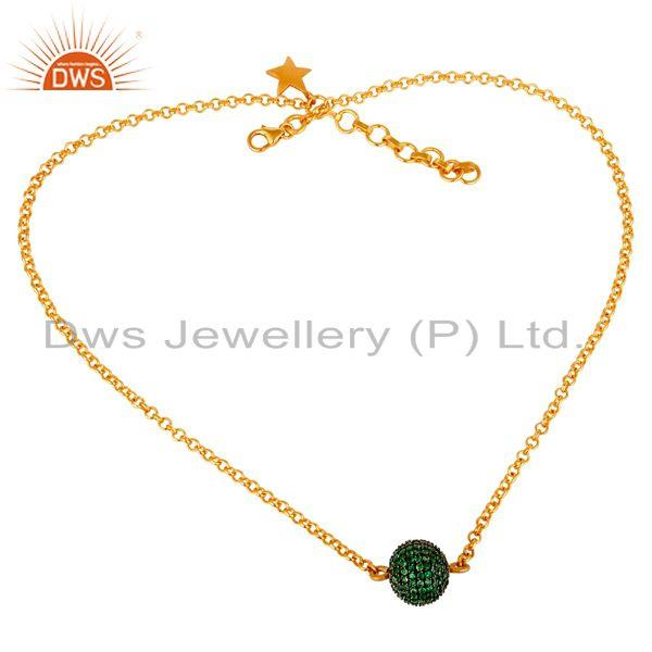 Exporter 24K Gold Plated 925 Sterling Silver Handmade Tsavourite Chain Pendant Necklace