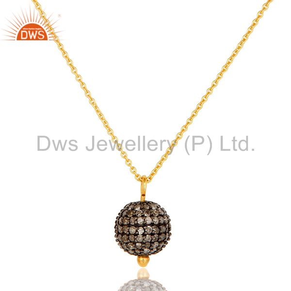 Exporter pave Diamond Set 18K Gold Plated Sterling Silver Ball Pendant Necklace