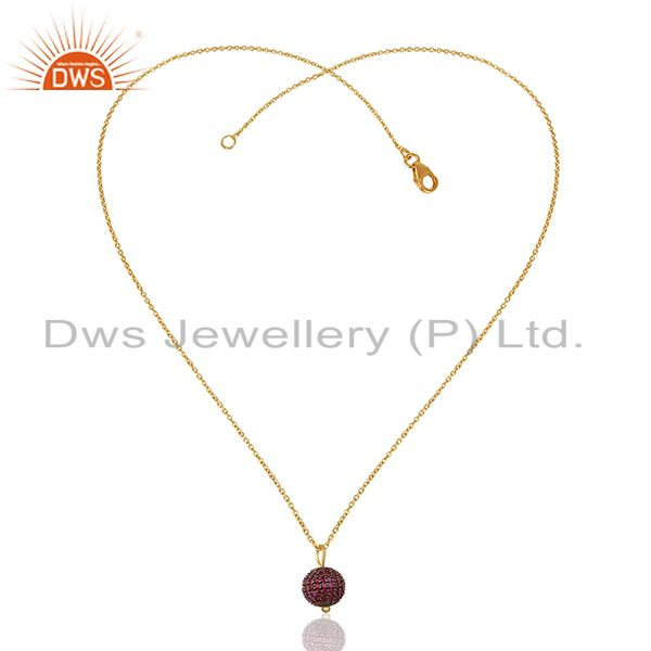 Exporter Natural Ruby Beads Ball 925 Silver Gold Plated Pendant Manufacturers