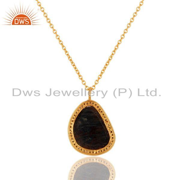 Exporter Blue Sapphire Unshape and Pave Diamond Gold Plated Sterling Silver Necklace