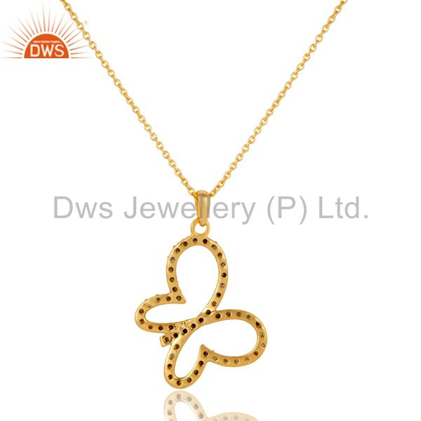 Exporter Pave Diamond Set 18K Gold Plated Sterling Silver Butterfly Pendant Necklace